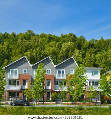 Brand new townhouse building in Vancouver, British Columbia. - stock photo