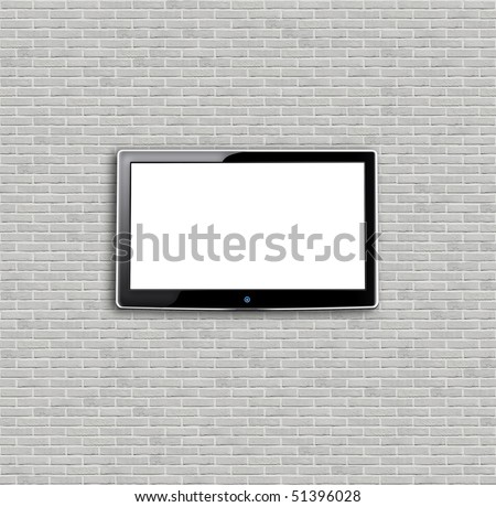 Brand new white apartment building wall and LCD - stock photo