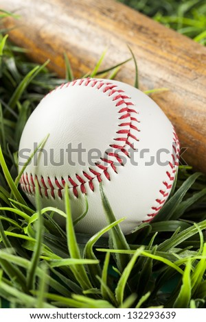 Brand New White Baseball in green grass with a bat - stock photo