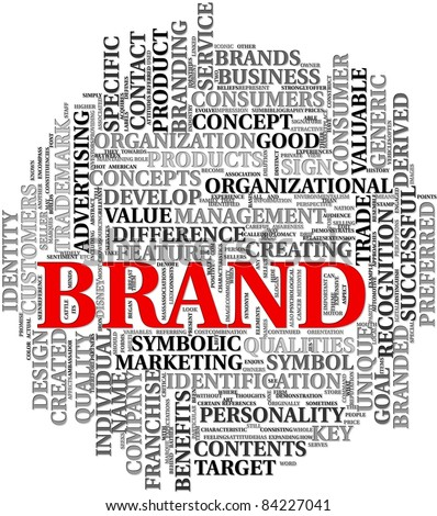 Brand related words in word tag cloud - stock photo