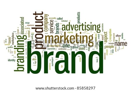 Brand related words in word tag cloud isolated on white - stock photo