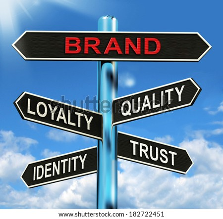 Brand Signpost Showing Loyalty Identity Quality And Trust