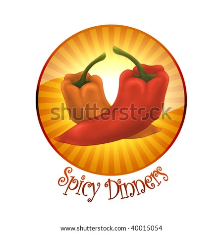 Brand 'Spicy Dinners' - Designed as restaurant logo - stock photo