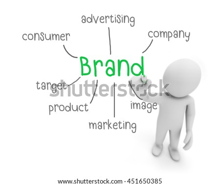 brand text ,business man writing brand concept ,Man Explain the meaning of brand, 3d rendering - stock photo