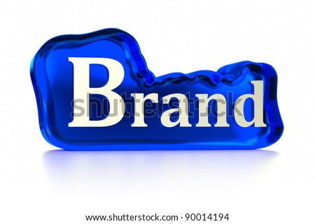Brand text upon cloud shaped blue glass. Part of a series. - stock photo