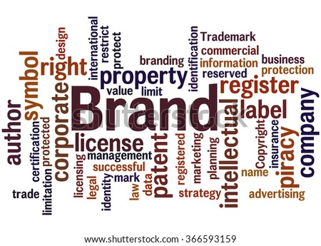 Brand, word cloud concept on white background.