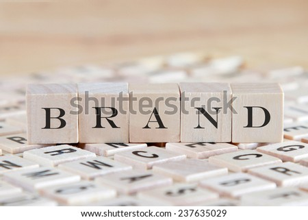 brand  word on wood blocks - stock photo