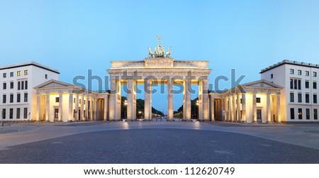 Brandeburg gate panorama at dusk. Pariser Platz, Berlin - stock photo