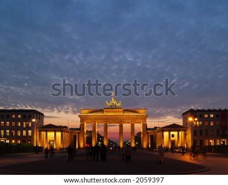 Brandenburg Gate at Dawn with copyspace