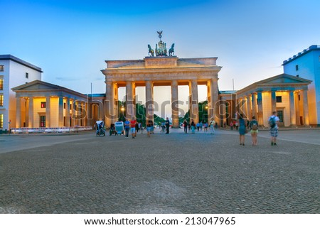 Brandenburg gate at evening, Berlin, Germany. HDR - stock photo