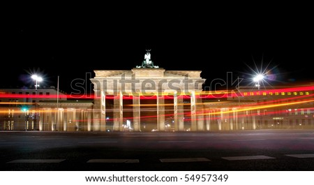 Brandenburg Gate at night, a former city gate and one of the main symbols of Berlin, Germany - stock photo
