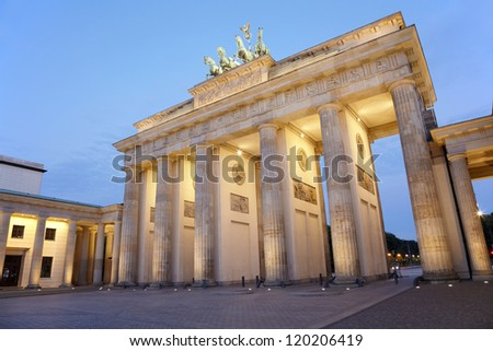 Brandenburg gate at night, Berlin, Germany - stock photo