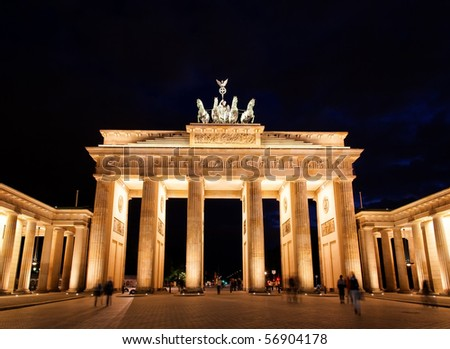 BRANDENBURG GATE at night in Berlin Germany - stock photo