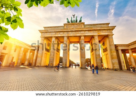 Brandenburg gate at summer, Berlin - stock photo