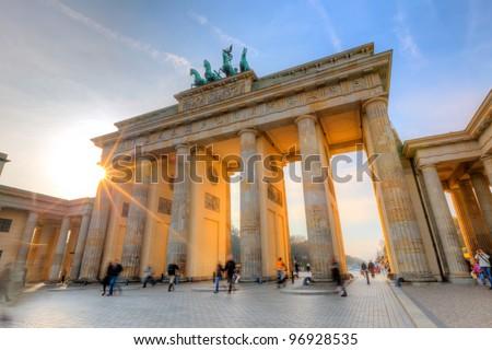Brandenburg gate at sunset - stock photo