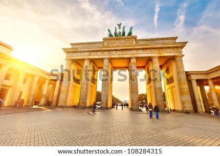 Brandenburg gate at sunset, Berlin - stock photo