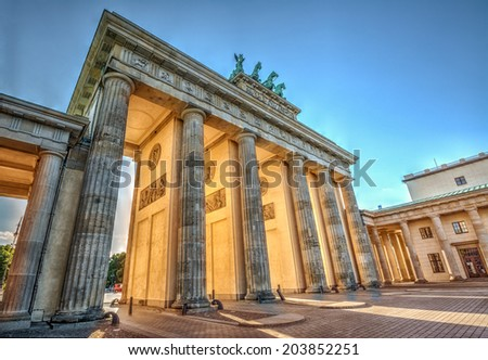 Brandenburg Gate (1788) at sunset, Berlin, Germany. Hdr image - stock photo