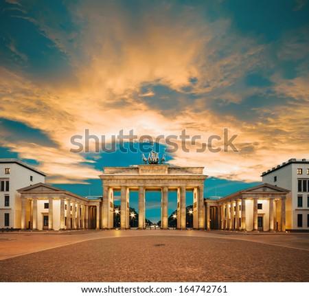 Brandenburg Gate at sunset, tinted image - stock photo