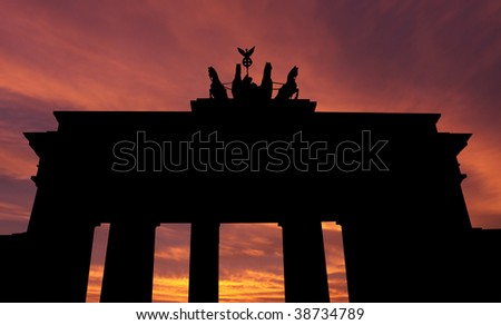 Brandenburg gate at sunset with beautiful sky illustration