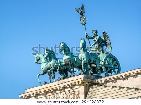 Brandenburg gate, blue sky, Berlin, Germany - stock photo