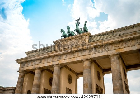 Brandenburg Gate (Brandenburger Tor), famous landmark in Berlin, Germany,rebuilt in the late 18th century as a neoclassical triumphal arch - stock photo