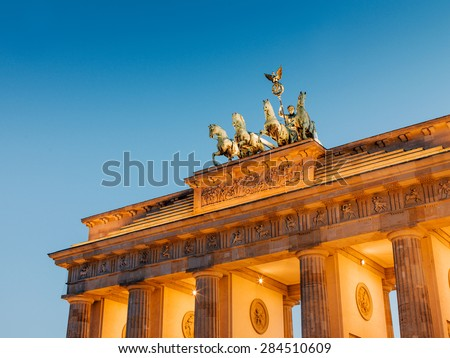 Brandenburg Gate (Brandenburger Tor) in Berlin at dusk - stock photo