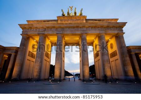 Brandenburg Gate (Brandenburger Tor) in Berlin night shot - stock photo