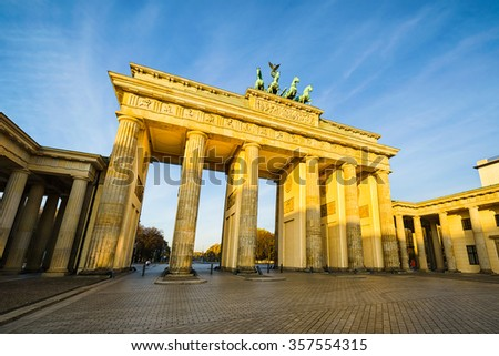 Brandenburg gate in Berlin, Germany on a sunny day - stock photo