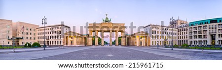 Brandenburg Gate in panoramic view - Berlin, Germany - stock photo