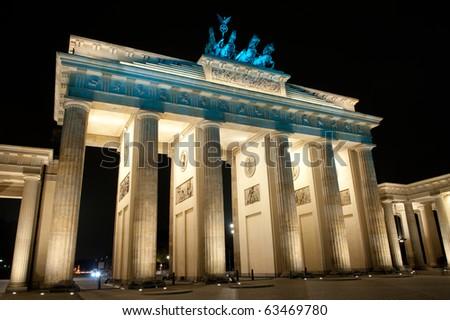 Brandenburg Gate in the night, Berlin, Germany - stock photo