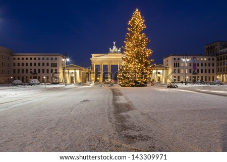 Brandenburg gate in winter - stock photo