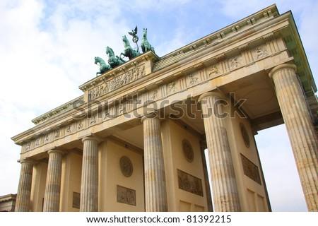 Brandenburg Gate of Berlin, landmark in Germany - stock photo