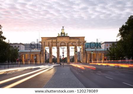 Brandenburg gate, Strasse des 17 Juni, Berlin - stock photo