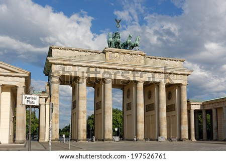 Brandenburg Gate with Pariser Platz street sign in Berlin, Germany - stock photo
