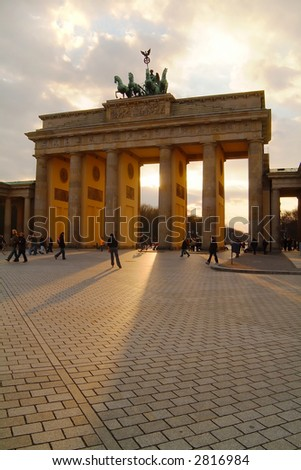 Brandenburg Gate with sunlight shining through
