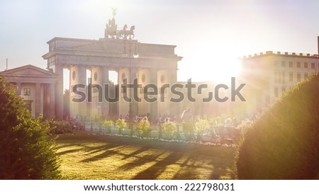 brandenburger gate with sunshine - stock photo