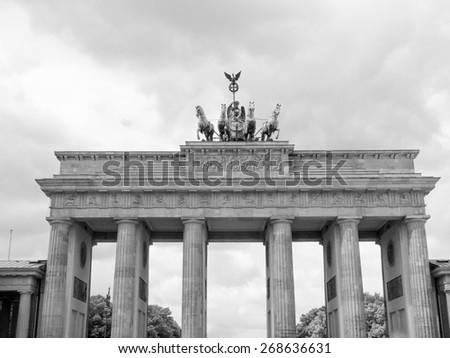 Brandenburger Tor Brandenburg Gate famous landmark in Berlin Germany in black and white - stock photo