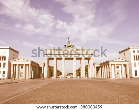 Brandenburger Tor (Brandenburg Gates) in Berlin, Germany vintage