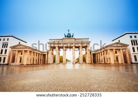 Branderburger Tor view after rain during day in Berlin, Germany - stock photo