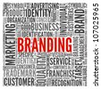 Branding and marketing concept in word tag cloud on white - stock vector