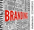 Branding and marketing concept in word tag cloud on white - stock