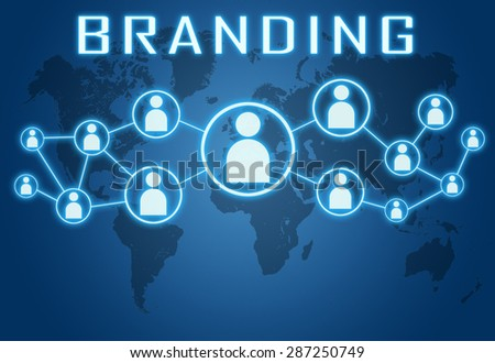 Branding concept on blue background with world map and social icons. - stock photo