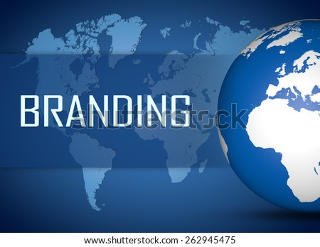 Branding concept with globe on blue world map background - stock photo