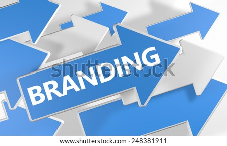 Branding 3d render concept with blue and white arrows flying over a white background. - stock photo