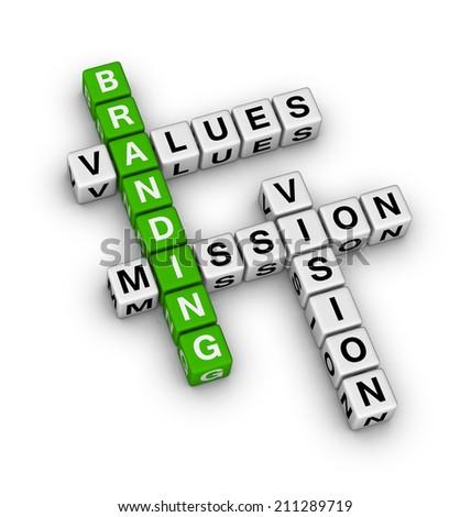 branding (green-white crossword series) - stock photo