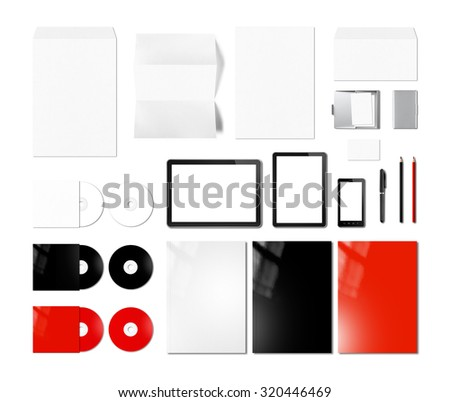 Branding identity design mockup template, isolated on white background - stock photo