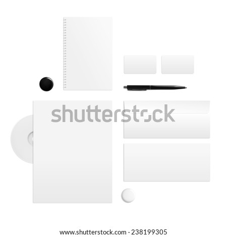 Branding identity on a white background. Top view. - stock photo