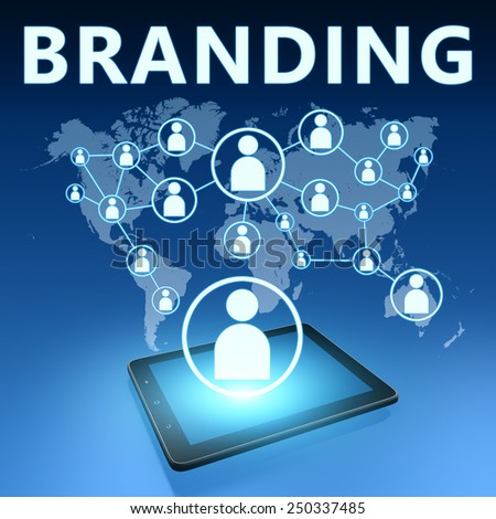 Branding illustration with tablet computer on blue background - stock photo