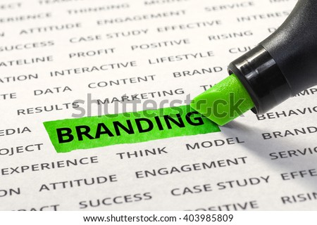 Branding message highlighted with marker on paper of other related words. For direction of business strategy success concept - stock photo