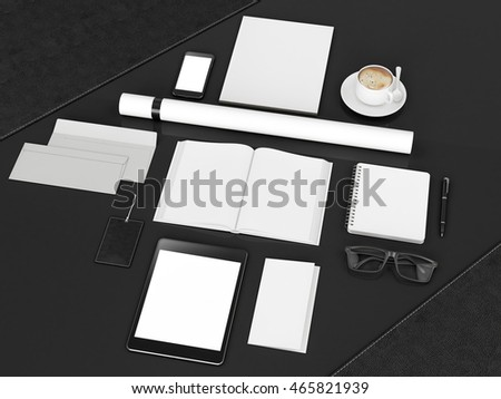 branding mockup. Template set on black background. 3d rendering. 3D illustration